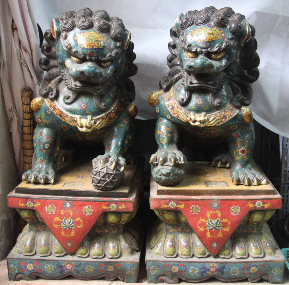 China Palace Old Bronze Copper Cloisonne Gilt Evil Guardian Fu Foo Dog Lion Pair