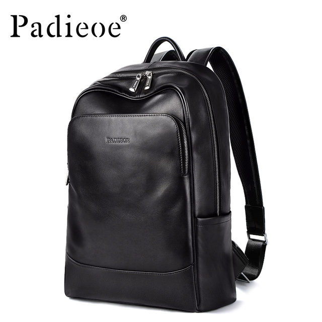 ab378022fcec Padieoe Original Leather Backpack School Bag Men s Notebook Backpack New  Year s Gift for Teenager Genuine Leather 15