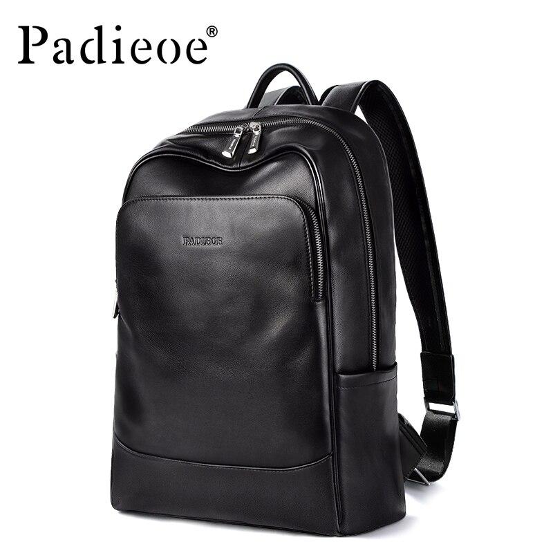 Padieoe Original Leather Backpack School Bag Men's Notebook Backpack New Year's Gift for Teenager Genuine Leather 15 Laptop Bag
