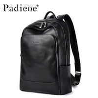 Padieoe Original Leather Backpack School Bag Men's Notebook Backpack New Year's Gift for Teenager Genuine Leather 15 Laptop Bag
