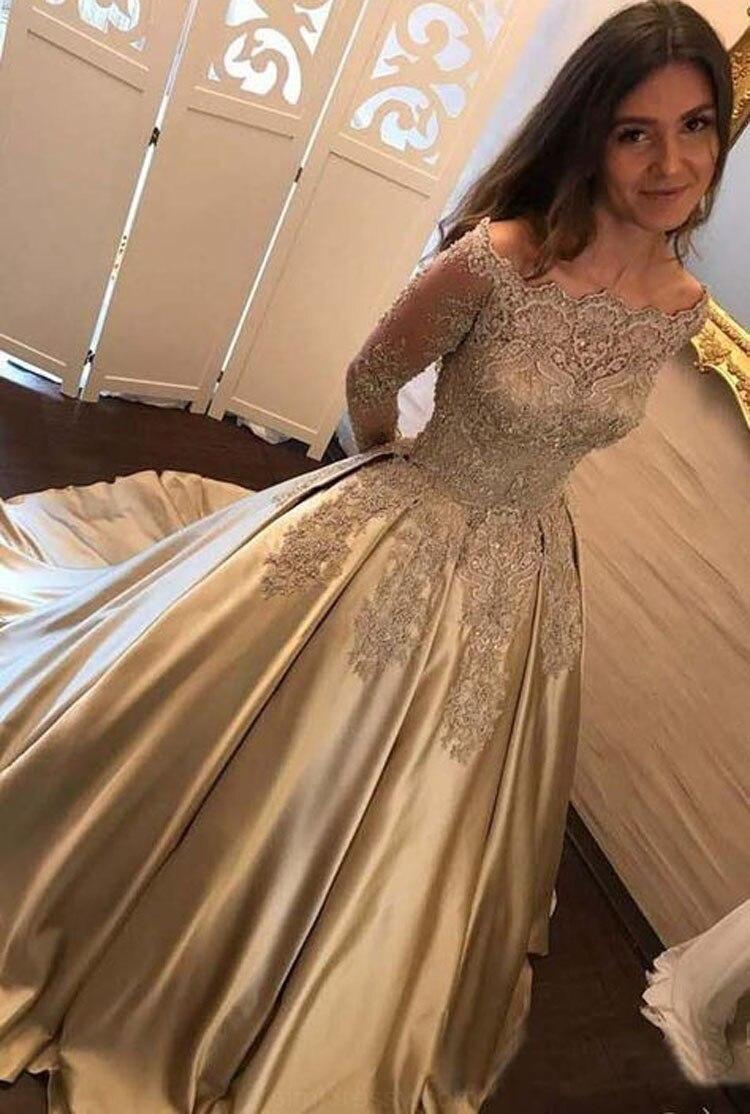 Элегантные золотые кружева аппликации с длинным рукавом мать невесты платья Большие размеры Вечерние платья Для женщин Vestido de madrinha 2018