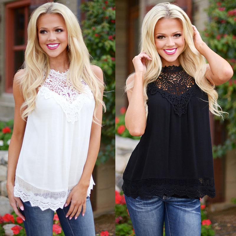 Blusas Femininas 2016 Summer Women Blouse Lace Vintage Sleeveless White Crochet Casual Shirts Tops Plus Size