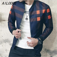 AILOOGE Brand Baseball Collar Jacket Men Plaid Fashion Mens Bomber Jackets For Men Autumn Style Active Windbreaker Coat Male