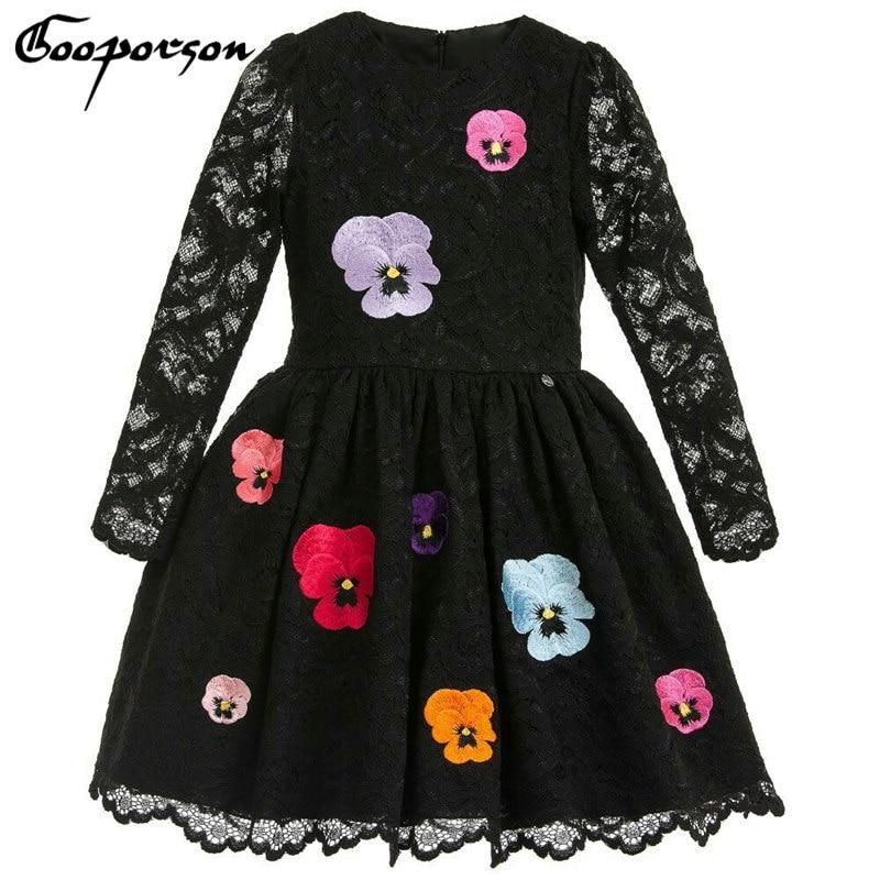 Tüdrukud kevadel kleit must värv pits pikk varrukas pool kleit - Lasterõivad
