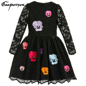 Girls Spring Dress Black Color Lace Long Sleeve Party Dress For Girls Kids With Flower Princess Knee Dress Clothes High Quality