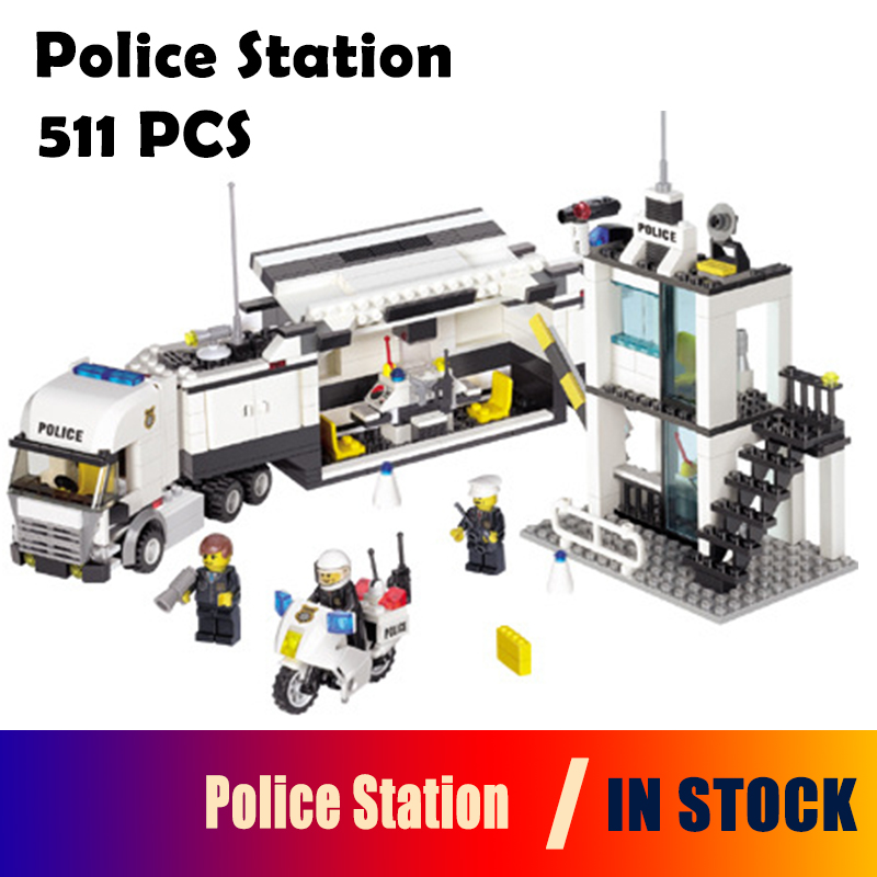 Model building kits compatible with lego city 6727 Police Station 3D Educational building blocks toys hobbies for children 6727 city street police station car truck building blocks bricks educational toys for children gift christmas legoings 511pcs