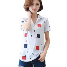 Fashion Character Print Chiffon Blouse Women Tops 2017 Summer Casual Short Sleeve Female Blouse Shirt OL Work Wear White Blusas