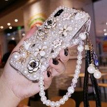 Pour Xiaomi Redmi 9 9A 9T Pro Note9 Pro Max Note9S Note8 étui chaud luxe perles diamant doux étui pour téléphone intelligent fille lanière couverture