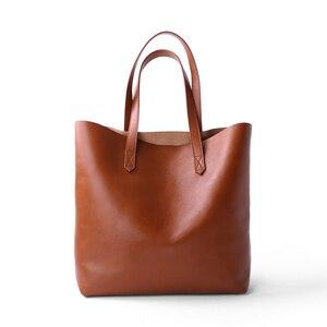 Image 1 - Bolsa de ombro feminina bolsa de couro genuíno senhora bolsa de compras do sexo feminino estudante clássico simples moda shopper casual totes