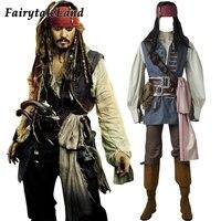 Капитан Джек Воробей Костюм Косплэй Пираты Карибского моря Джек Воробей Костюм взрослых мужчин на заказ костюм для Хэллоуина костюмы