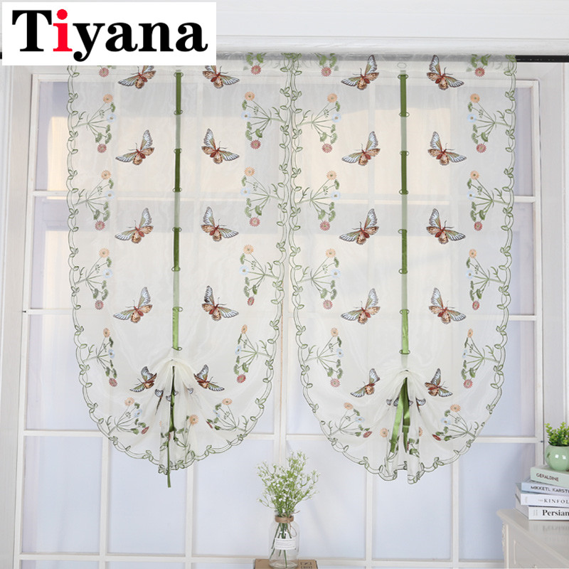 US $5.77 22% OFF|Butterfly curtain panel roman window valance home kitchen  curtains string fabric for yarn rustic curtain yarn customize P242Z20-in ...