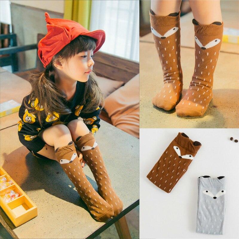 Смешной счастливый Детские носки чулочно-носочные изделия для детей От 1 до 6 лет с рисунком лисы Meias длинные носки до колена Meia Calcetines дешевые...