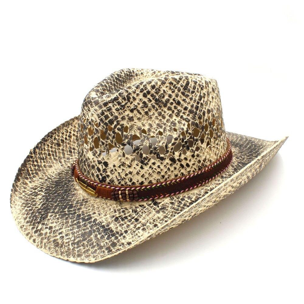 Fashion Women Men Western Cowboy Hat Handmade Weave Straw Dad Sombrero  Hombre Cowgirl Jazz Caps Punk Belt Band Size 56-58CM a2373faf2075