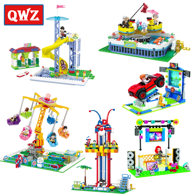 QWZ Friends Series The City Park Cafe Pirate Ship Ferris Wheel Girl Building Blocks Compatible Legoings Bricks For Kids Gifts
