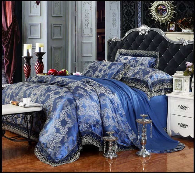 4pcs Palace Luxury Bedroom Bedding Sets Modal Silk Cotton Blue Queen King Duvet Comforter Cover
