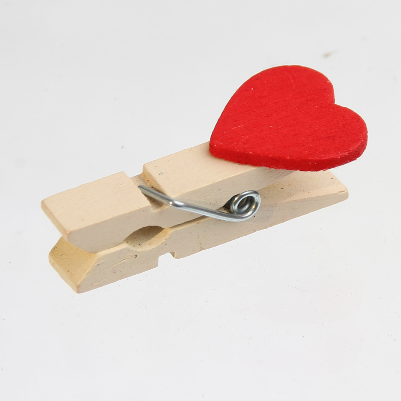 15pcs Red Heart shaped Mini Wood Clip DIY Label Making Famous Brand Photo Paper Nails Do Mark Shelf 35X10mm in Beads from Jewelry Accessories