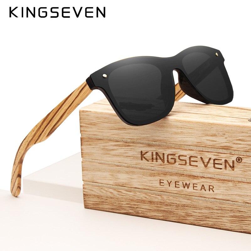 KINGSEVEN Gray Polarized Lens New Zebra Wood Sunglasses Women Men Luxury Brand Vintage Wooden Sun Glasses Retro Eyewear