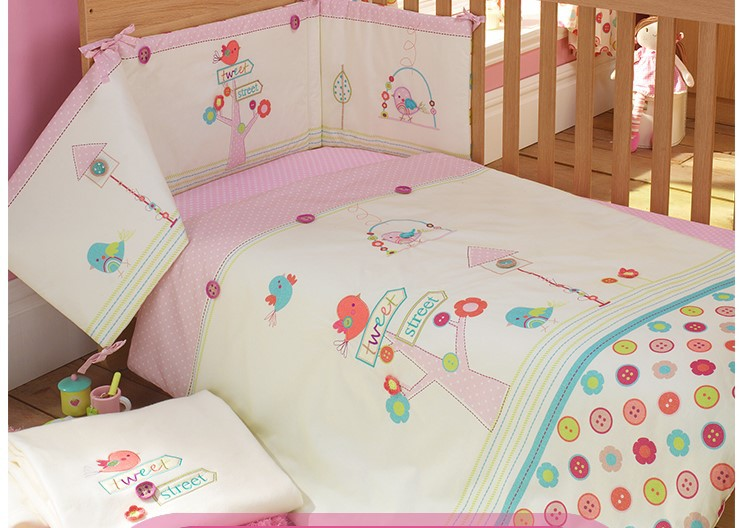 Pink 100 Cotton Embroidery Bird Flowers Baby Bedding Set