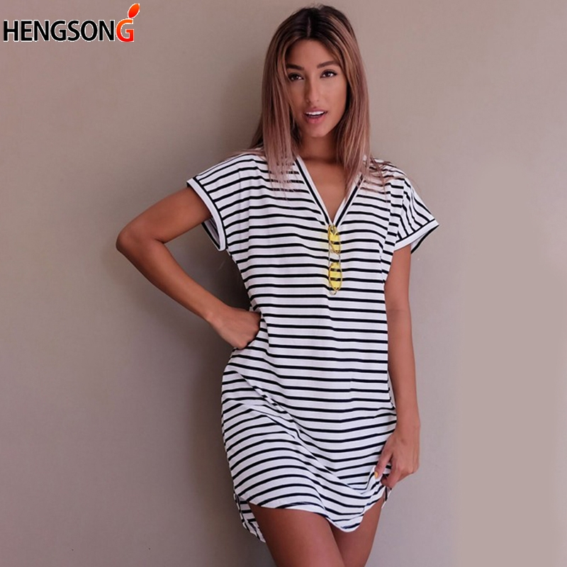 Casual Striped Dress V Neck Sexy Women Straight Long Tops Boho Vestido Summer Beach Wear Preppy Desses