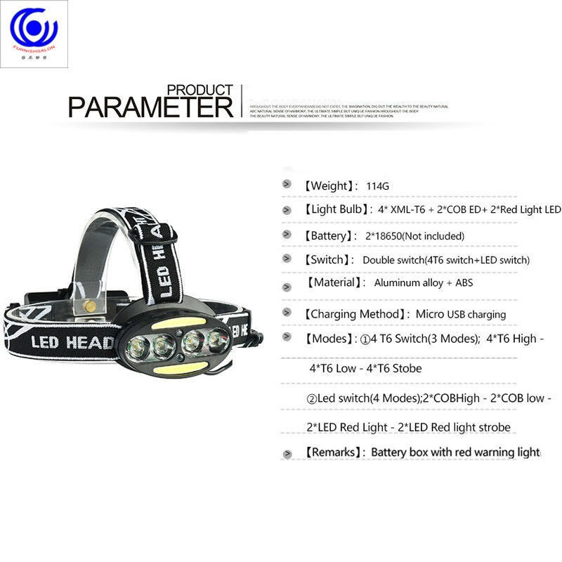 Купить с кэшбэком Headlight high brightness headlamp 4* T6 +2*COB+2*Red LED Head Lamp Flashlight Torch Lanterna with batteries charger headlamps