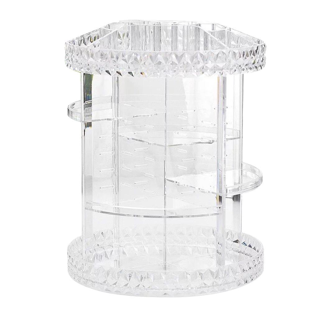 Rotatable Acrylic Cosmetic Storage Box Diamond Pattern Transparent Cosm