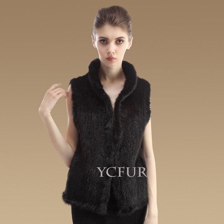 YCFUR модные женские жилеты, зимние теплые вязаные жилеты ручной работы из натурального меха норки, женский жилет из настоящей норки - Цвет: black