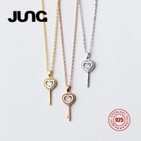 2018 JUNG New Cute Sweet Heart Key Zirconia 925 Sterling Silver Necklace Chain Charms Chain Pendant