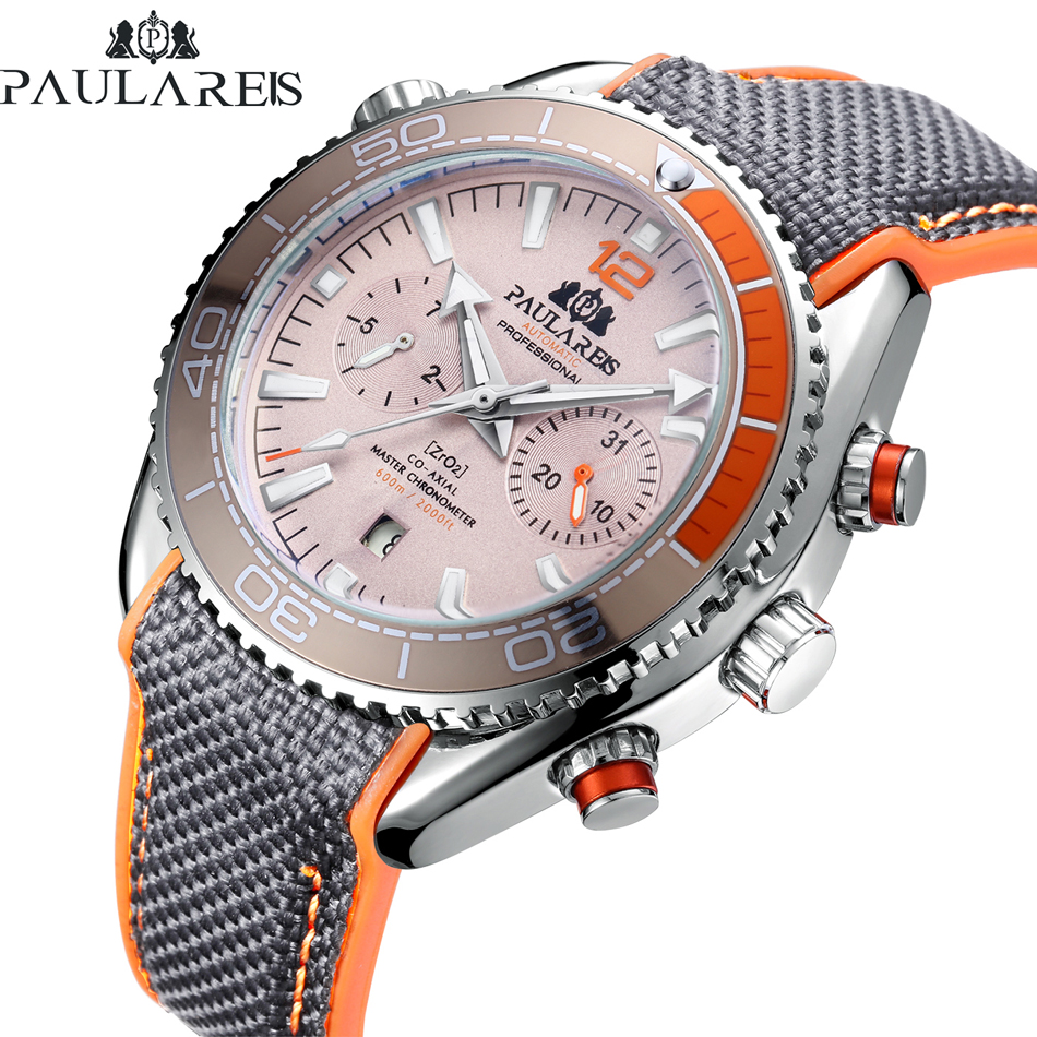 Men Automatic Self Wind Mechanical Canvas Rubber Strap James Bond 007 Style Orange Blue Red Multifunction