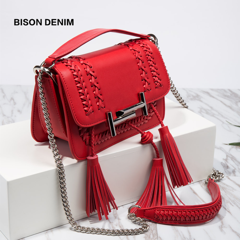BISON DENIM Luxury Handbags Women Bags Designer Vintage Leather Shoulder Bags for Women 2018 Weaving Lady