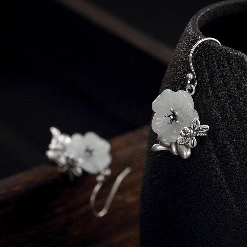Boucles d'oreilles S925 en argent pur naturel Jade blanc Jade fleur de prune libellule rétro Baitao