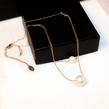 CX-Shirling Luxurious Pearl Pendant Short Necklace Double Layers Long Gold&Silver Collar Female Party Jewelry