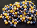 72'' Lariat Knotted Necklace Blue Yellow Grey Multicolor Freshwater Cultured Pearl Beads Long Necklace.