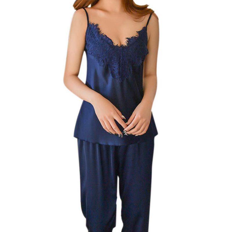 Women Girls Pajamas Set Top Long Pant Silk Lace Bow V-neck Sleepwear Lace Lingerie Sleeveless Women Sling Lingerie +pant Set