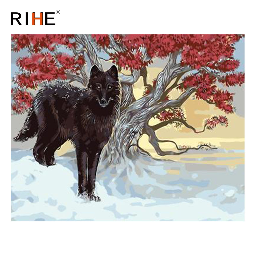 RIHE Sunrise Snow Wolf Diy Painting By Numbers Animal Tree Oil Painting On Canvas Hand Painted Cuadros Decoracion Acrylic Paint in Painting Calligraphy from Home Garden