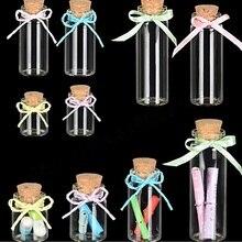 10pcs/set 4ml 5ml 6ml Mini Clear Glass Bottle Vials Empty Sample Jars with Cork Stopper Message Vial Weddings Wish Bottle S020B