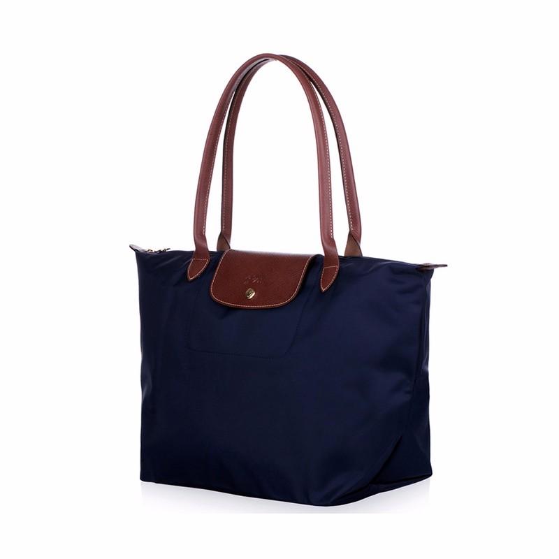 New-folding-shopping-bag-women-nylon-bag-casual-tote-bag-lightweight-foldable-waterproof-nylon-handbag-black