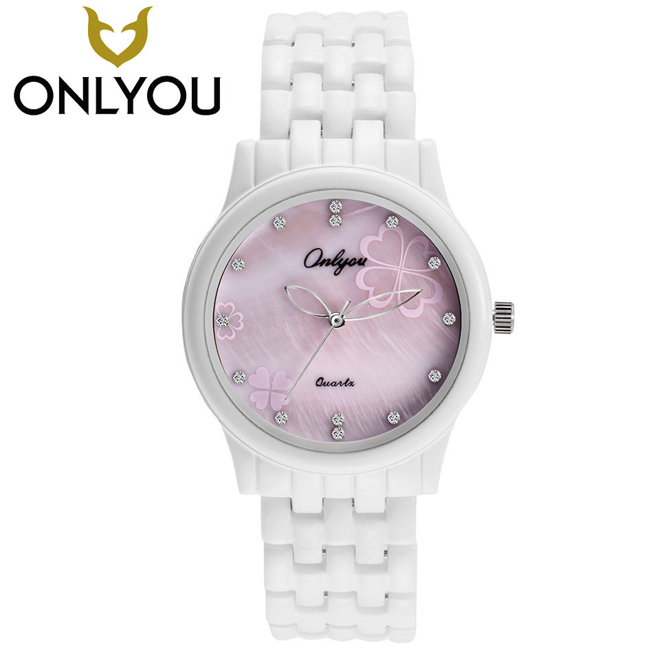 ONLYOU mujer relojes 2017 marca de lujo diamantes Mujer Flor reloj moda Casual reloj de cerámica regalo del Día de San Valentín