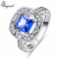lingmei New Comes Princess Cut Multi-color & Blue CZ Silver Color Ring Size 6 7 8 9 Beautiful Women Anniversary Fashion Jewelry