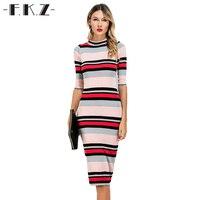DEXIA Summer Women Dress Colorful Striped O Neck Mid Calf Skinny Style Female Dress Half Sleeve