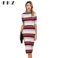 DEXIA Summer Women Dress Colorful Striped O Neck Mid Calf Skinny Style Female Dress Half Sleeve