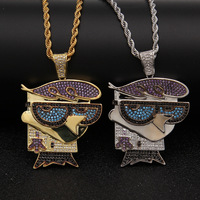 Men Iced Out Cartoon Birds Dexter Colorful Zircon Pendant CZ Chain 18K Gold Plated Hip Hop Jewelry Necklace