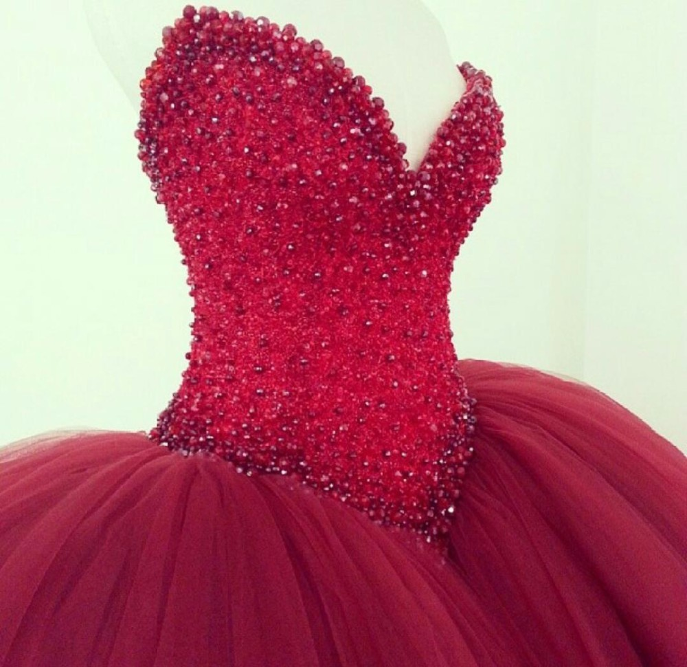 Red Wedding Dress Custom Made Plus Size Long Beading Sequined Ball ...