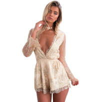 64e70057f2f Womens Lady Long Sleeve Sequins Party Evening Short Cocktail Romper jumpsuit  One Piece Clothes
