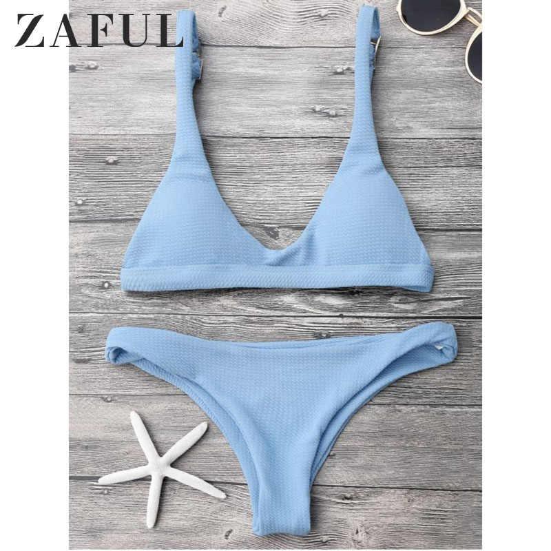 Zaful Bikini Wanita New High Cut Scoop Neck Bikini Set Rendah Pinggang Bralette Scoop Leher Warna Solid Baju Renang Pakaian Renang biquni