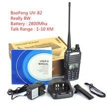 BAOFENG УФ-82 Рация Уполномоченный 8 Вт Dual Band 128 Каналов Handy Охота Радио Приемник С Headfone