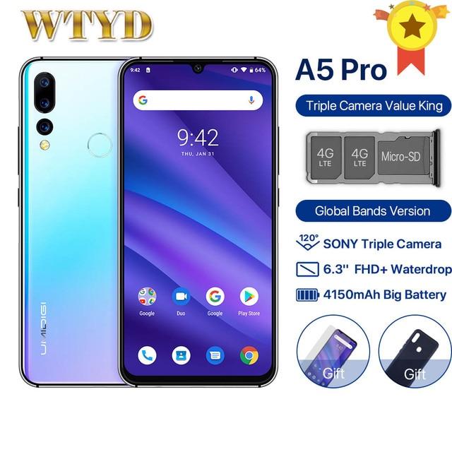 Global Version UMIDIGI A5 PRO 16MP Triple Camera Dual 4G Mobile Phone 4GB 32GB 6.3 FHD Android 9.0 Octa Core 4150mAh Smartphone