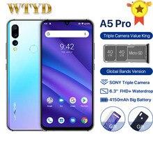 Глобальная версия смартфона UMIDIGI A5 PRO, тройная камера 16 МП, двойной мобильный телефон 4G, 4 Гб, 32 ГБ, экран 6,3 дюйма FHD, Android 9,0, Восьмиядерный, 4150 мАч