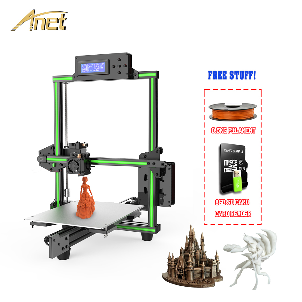 2018 Anet E2 impresora 3d 3D Printer Kit Easy Assembly Big Printed Size DIY Delta 2004LCD with 10m PLA Filament 8GB Sd Card цена