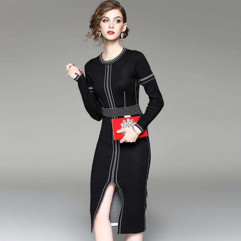 Women Autumn Winter Sweater Knitted Dresses Slim European Style O Neck Long Sleeve Sexy Slit Elegant OL Office Lady Dresses