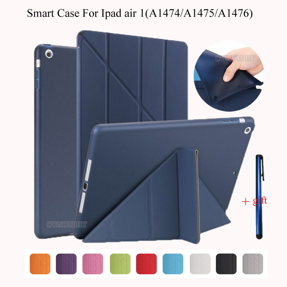 Smart Case For Ipad air 1 TPU Silicon Smart Magnetic Wake Up Sleep Back Cover For Ipad 5 PU Leather Flip Stand Soft Full Protect dhl ems ups free 3 folder folio stand pu leather soft tpu silicon flip auto sleep cover case for apple ipad pro 9 7 tablet